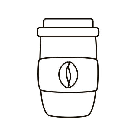 coffee plastic container line style icon vector illustration design 矢量图像