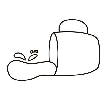 spilled coffee in ceramic cup drink line style icon vector illustration design  イラスト・ベクター素材