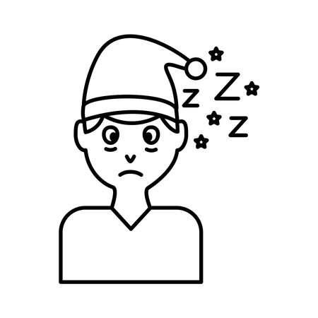 man with pijama hat and Insomnia z letters line style icon vector illustration design