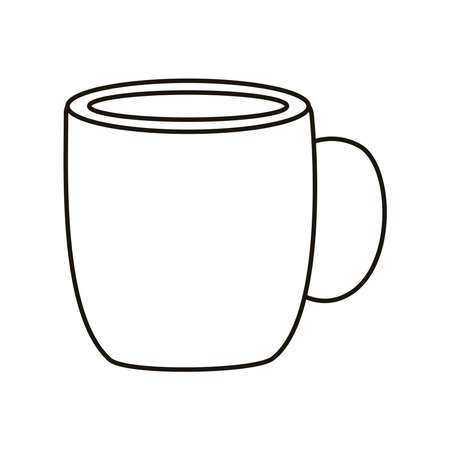 coffee ceramic cup drink line style icon vector illustration design