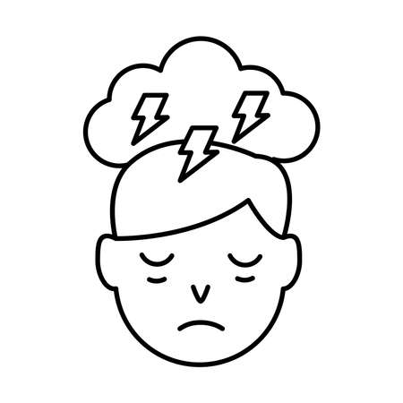 person with insomnia and cloud storming line style icon vector illustration design