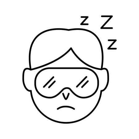 head man wearing sleep mask with Insomnia z letters line style icon vector illustration design