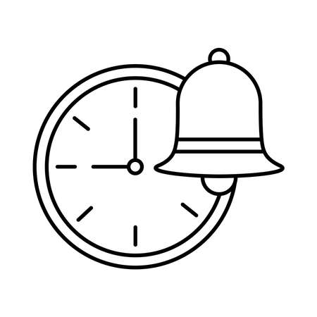 time watch with bell line style icon vector illustration design Ilustracja