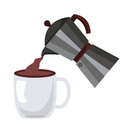 coffee kettle and cup utensils flat style icon vector illustration design
