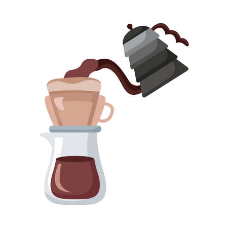 coffee kettle and pot utensils flat style icon vector illustration design