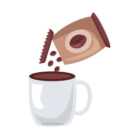 coffee ceramic cup drink and bag icon vector illustration design