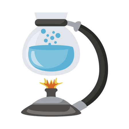 teapot glass with water in burner icon vector illustration design