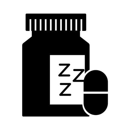 Insomnia bottle drugs with z letters silhouette style icon vector illustration design 矢量图像