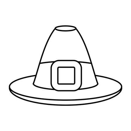 pilgrim hat thanksgiving accessory icon vector illustration design 向量圖像