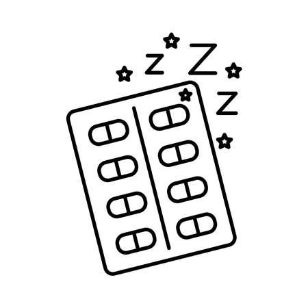 drugs capsules Insomnia z letters line style icon vector illustration design 矢量图像