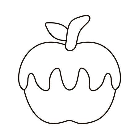 sweet caramel in apple line style icon vector illustration design