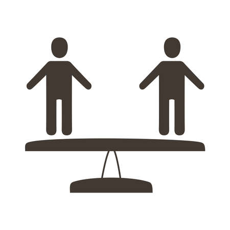 persons in scale balance silhouette style icon vector illustration design