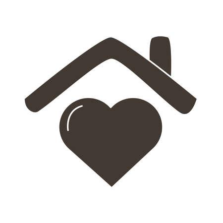 heart love in house silhouette style icon vector illustration design Ilustracja