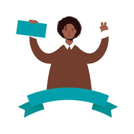 afro ethnic man celebrating with voting card character vector illustration design