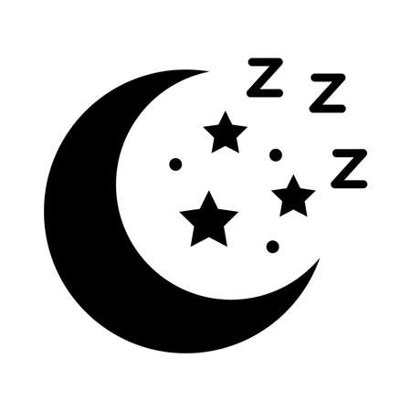 moon and stars Insomnia letters silhouette style icon vector illustration design