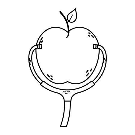 apple fresh fruit healthy icon vector illustration design