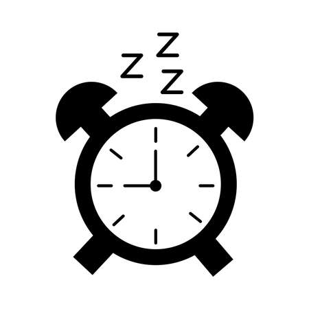 alarm clock with Insomnia z letters silhouette style icon vector illustration design