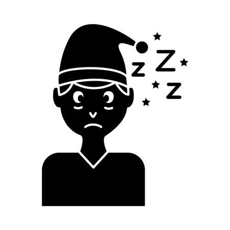 man with pijama hat and Insomnia z letters silhouette style icon vector illustration design