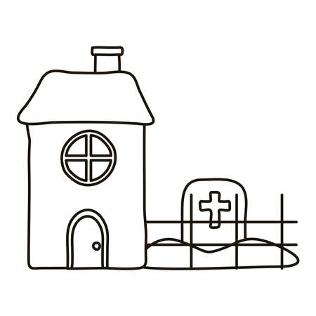 cemetery tomb with cross in house line style icon vector illustration design