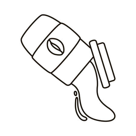 coffee spilling in plastic container line style icon vector illustration design