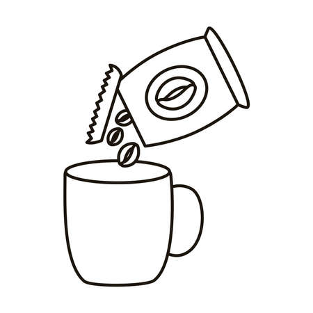 coffee ceramic cup drink and bag line style icon vector illustration design
