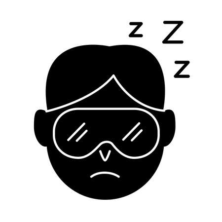 head man wearing sleep mask with Insomnia z letters silhouette style icon vector illustration design 矢量图像