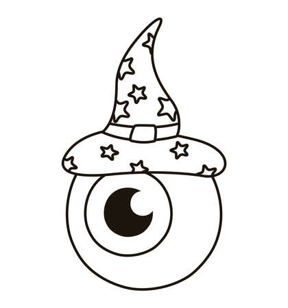 halloween eye with witch hat line style icon vector illustration design  イラスト・ベクター素材