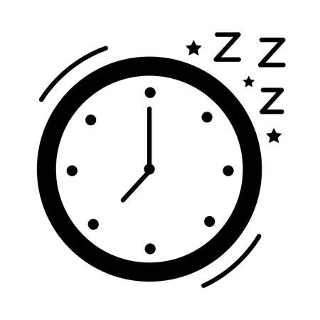 watch clock with Insomnia z letters silhouette style icon vector illustration design