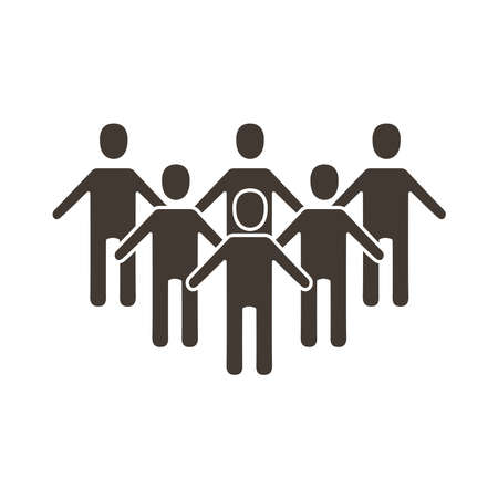 group of silhouettes people silhouette style vector illustration design