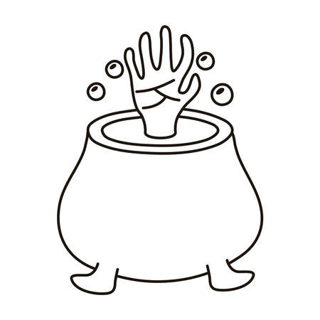 witch cauldron pot with death hand line style icon vector illustration design