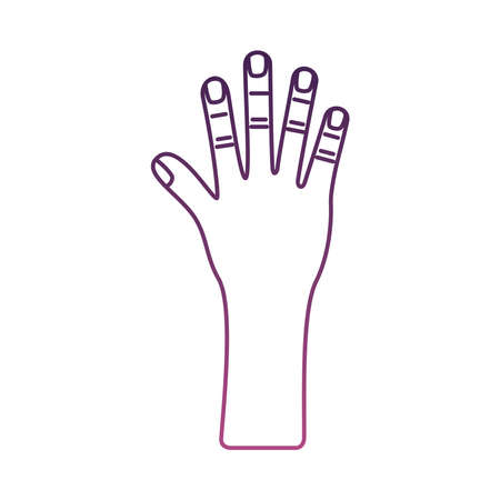 hand human stop line style icon vector illustration design