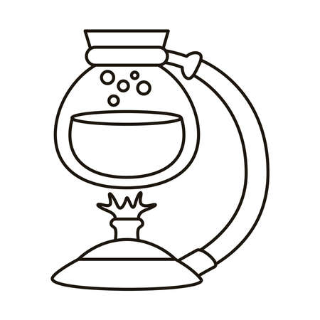 pot glass with water in burner line style icon vector illustration design