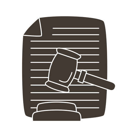 hammer judge with document silhouette style icon vector illustration design
