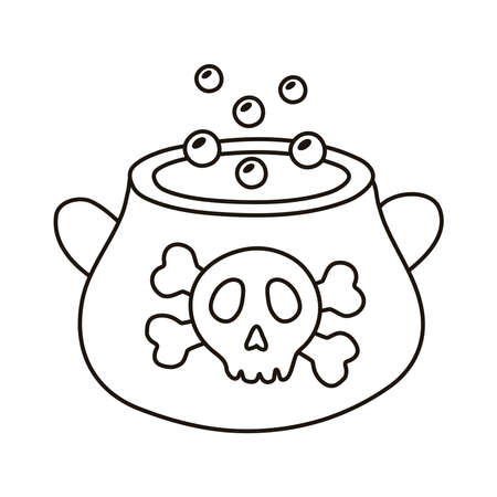 witch cauldron pot with skull stamp line style icon vector illustration design