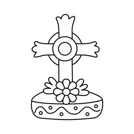 dia de los muertos grave cross with flower line style vector illustration design