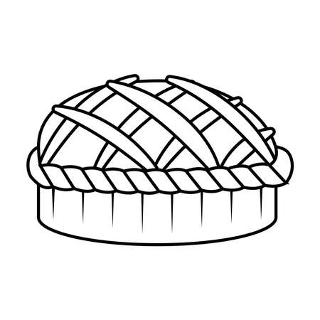 thanksgiving sweet pie delicious line style icon vector illustration design