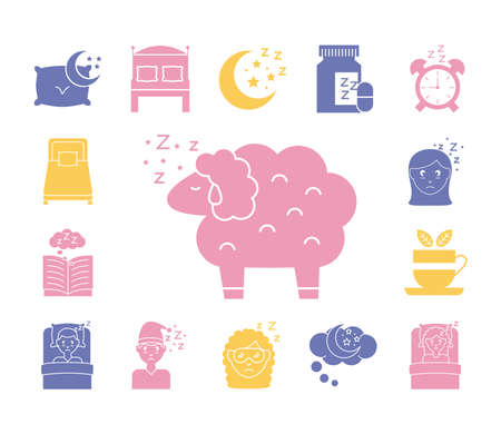 sheep with bundle of Insomnia silhouette style icons vector illustration design Vektorové ilustrace