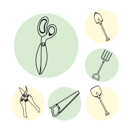 scissors and gardening tools line style icons vector illustration design  イラスト・ベクター素材