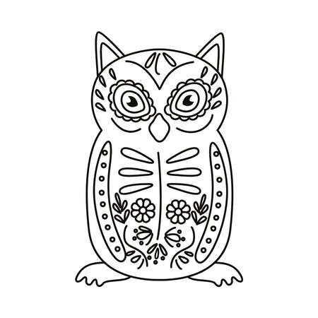 exotic mexican owl bird line style icon vector illustration design