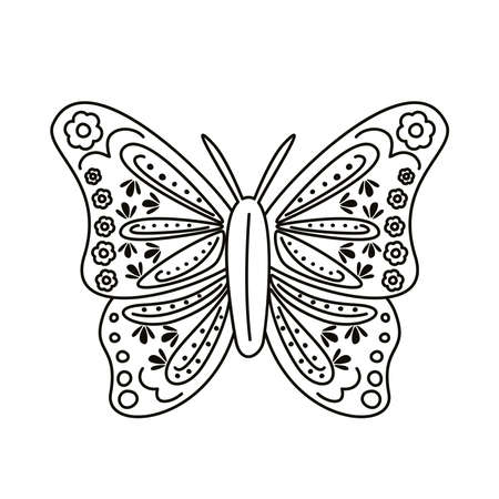 butterfly with mexican culture decoration line style icon vector illustration design 矢量图像