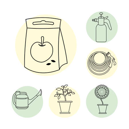 apple seed bag and gardening line style icons vector illustration design