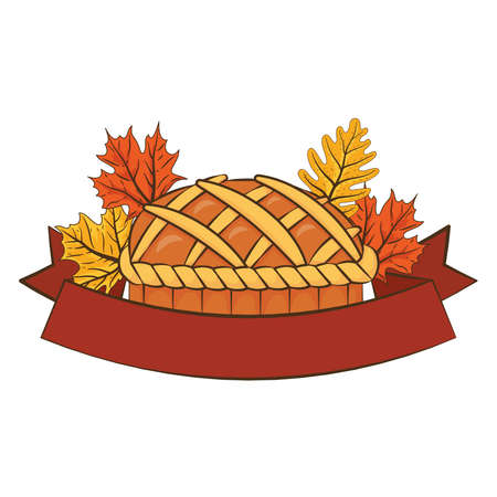 thanksgiving sweet pie delicious with leaves and ribbon frame vector illustration design Illusztráció