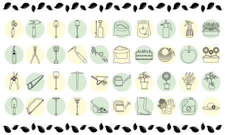 bundle of forty gardening line style icons vector illustration design