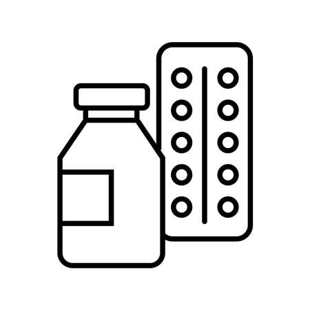 drugs pills bottle line style icon vector illustration design