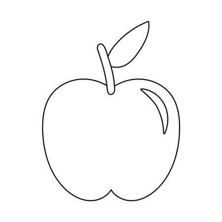 apple fresh fruit nature line style icon vector illustration design