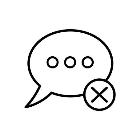 speech bubble with denied symbol line style vector illustration design 向量圖像