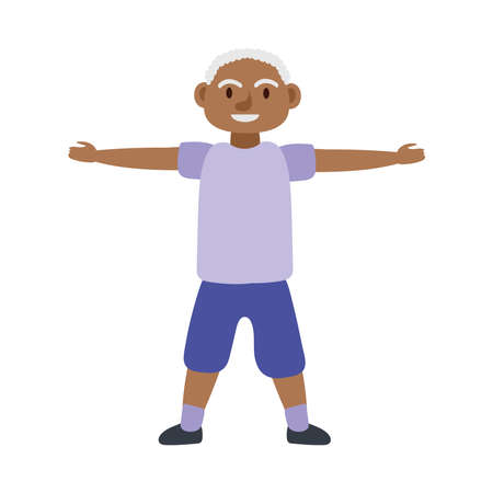 old afro man practicing exercise avatar character vector illustration design