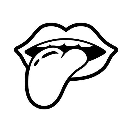 mouth with tongue out pop art line style icon vector illustration design