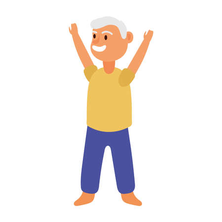 old man practicing exercise avatar character vector illustration design