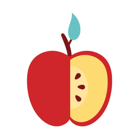 apple red without a portion fresh fruit nature icon vector illustration design